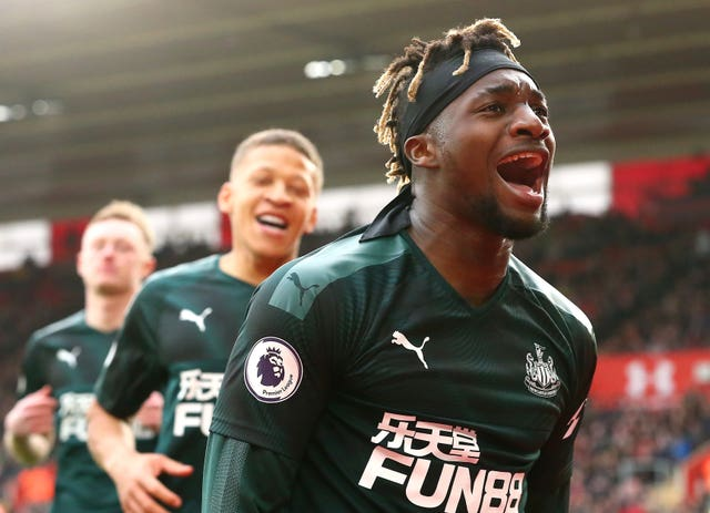 Newcastle's Allan Saint-Maximin (right) ended the club's wait for a Premier League goal after seven hours and 19 minutes with the winner at Southampton