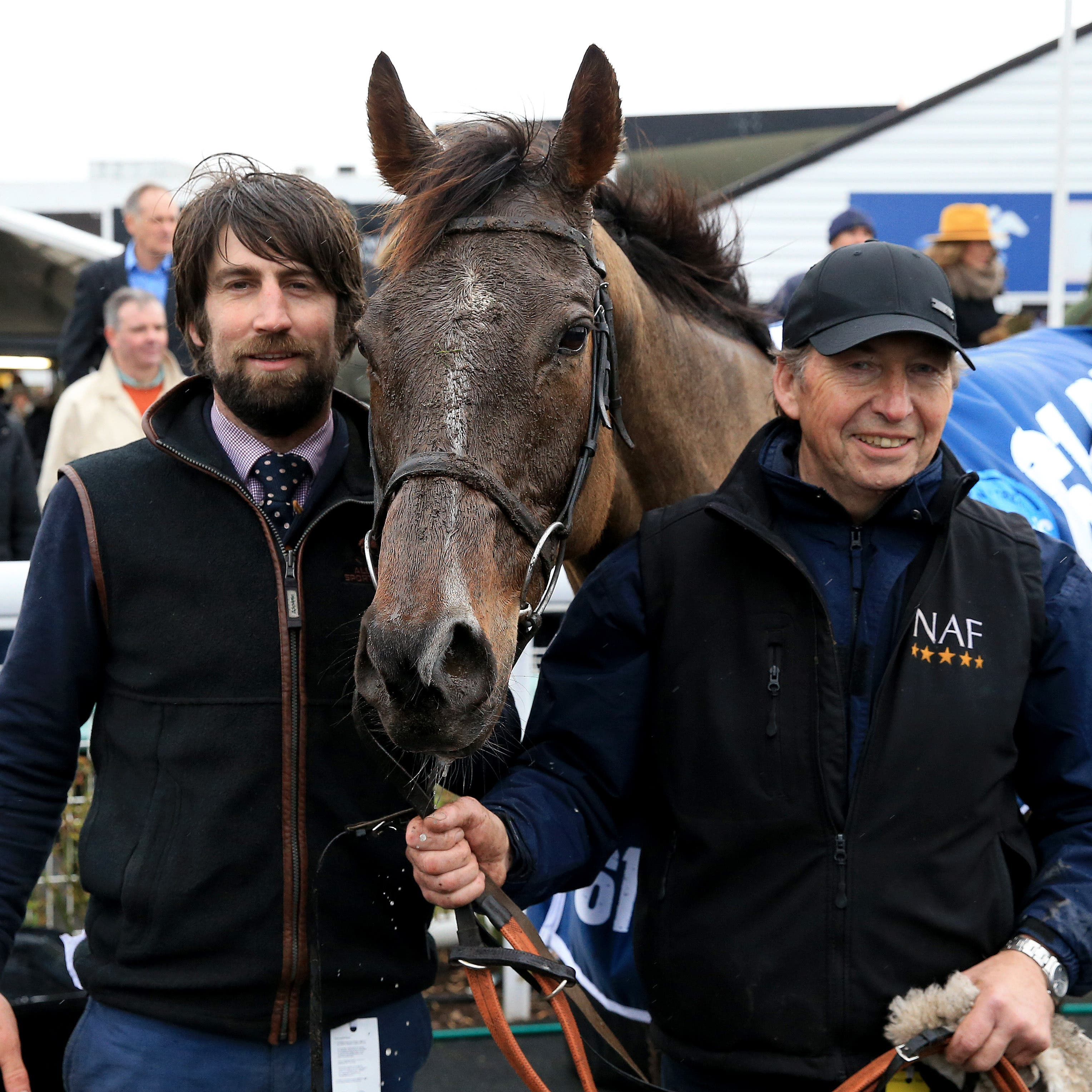Trainer Christian Williams (left) with Potters Corner after winning the Midlands Grand National