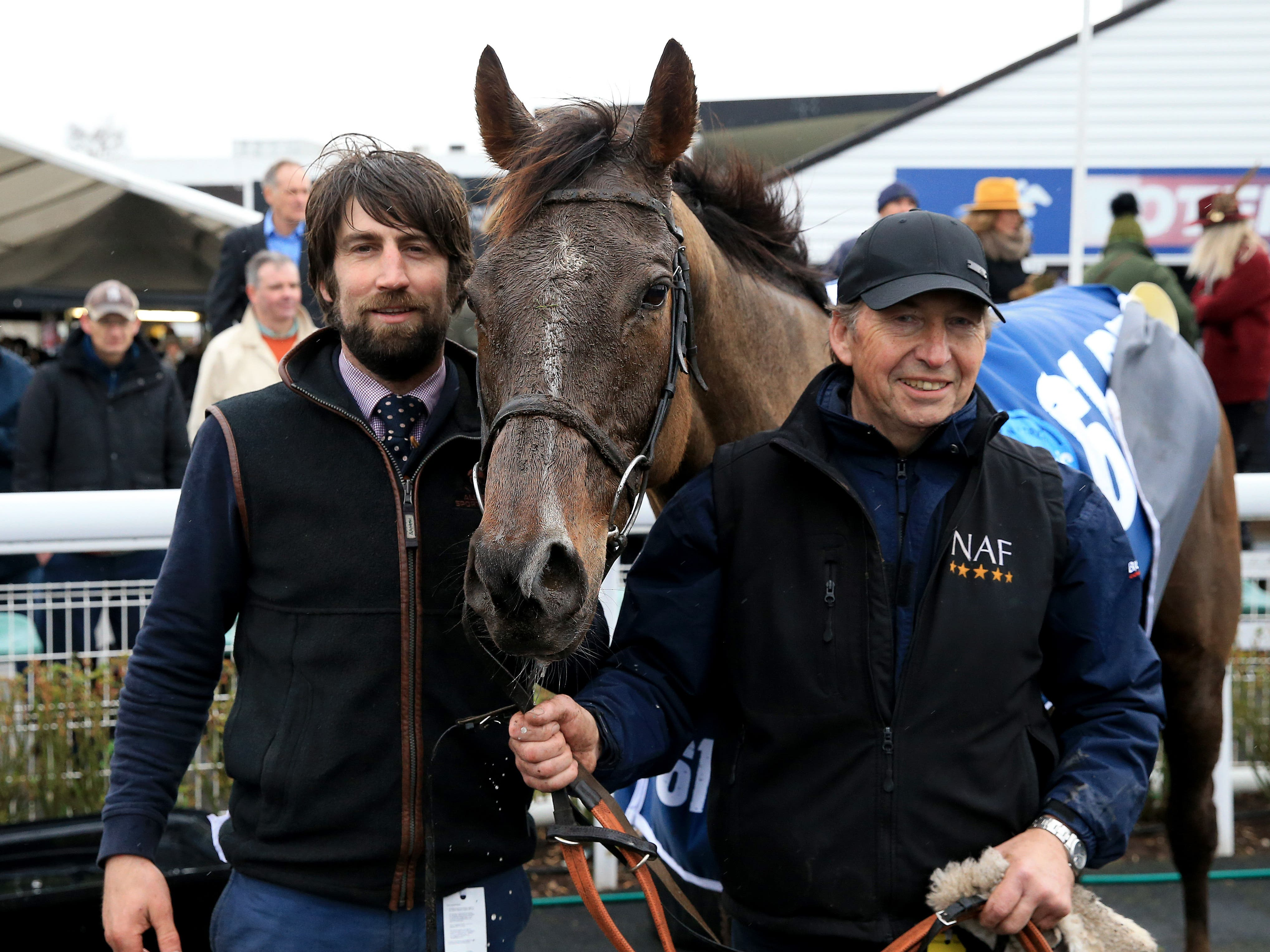 Trainer Christian Williams (left) with Potters Corner after winning the Midlands Grand National (Clint Hughes/PA)