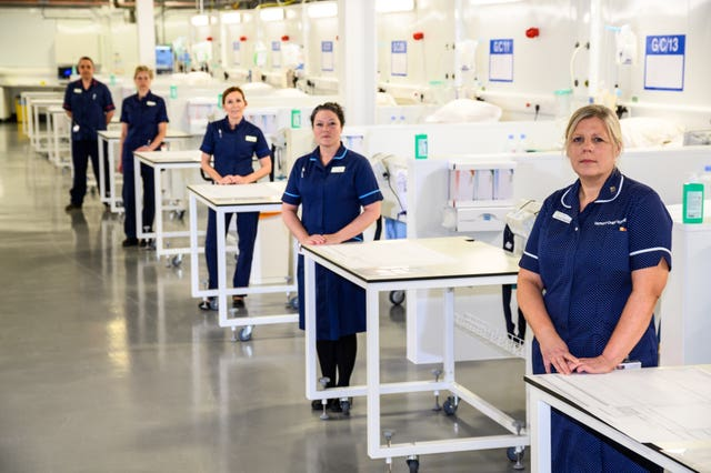 NHS workers in the new facility