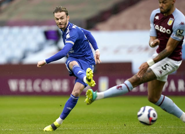 James Maddison scores for Leicester at Aston Villa