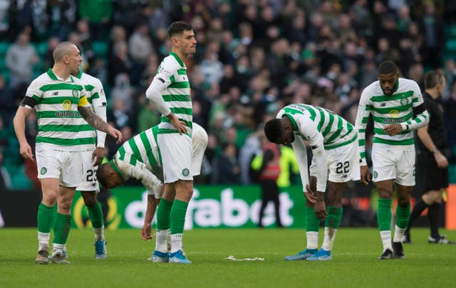 Celtic players look dejected