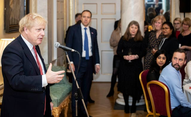 Prime Minister Boris Johnson speaks during a reception for NHS nurses at 10 Downing Street (Handout/PA)