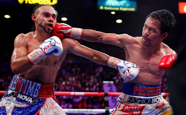 Manny Pacquiao beat Keith Thurman on points to take the WBA Super welterweight title