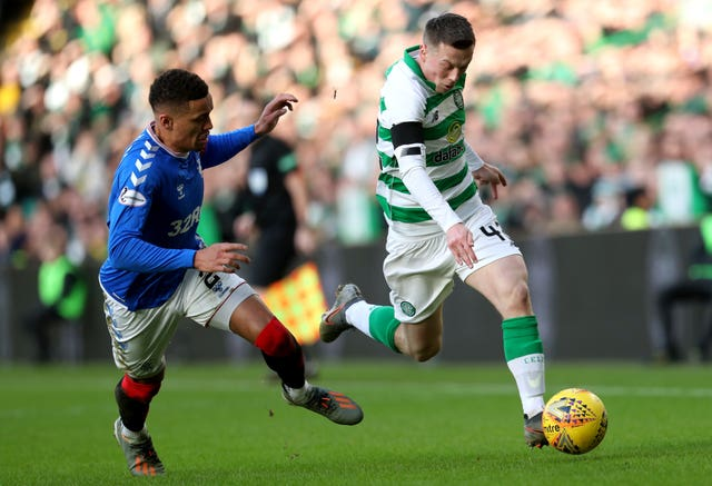 Celtic sat 13 points clear of Rangers before the season was halted (Andrew Milligan/PA)