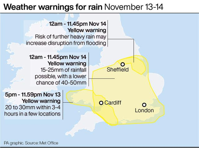 Weather warnings for rain November 13-14
