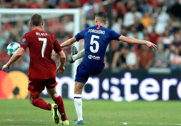 Chelsea's Jorginho with an incorrectly spelled name on his shirt during the Super Cup in Istanbul