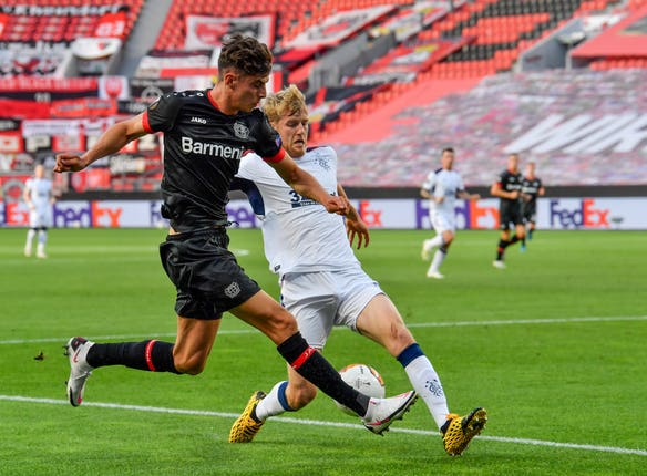 Bayer Leverkusen's Kai Havertz (left) during the UEFA Europa League, Quarter Final match at the BayArena