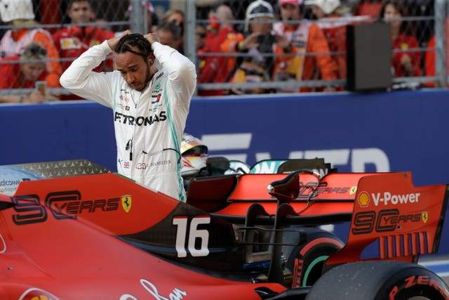 Lewis Hamilton split the two Ferraris