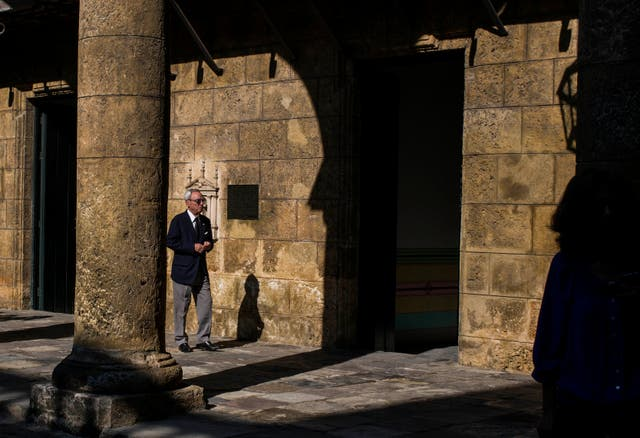 Eusebio Leal Spengler walks in the courtyard of the City Museum in Havana (Desmond Boylan/AP)