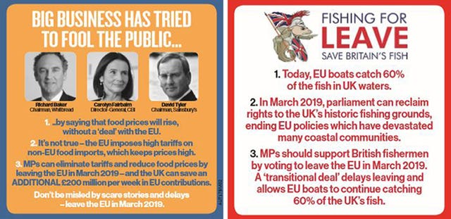 JD Wetherspoon photo of their beer mat accusing business leaders of 'misleading' the public on Brexit