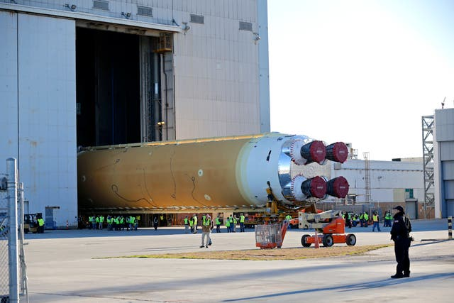 The core stage of Nasa's Space Launch System rocket, that will be used for the Artemis 1 Mission, is rolled out of the Nasa Michoud Assembly Facility where it was built, in New Orleans