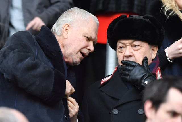 West Ham United co-owners David Sullivan (right) and David Gold in the stands